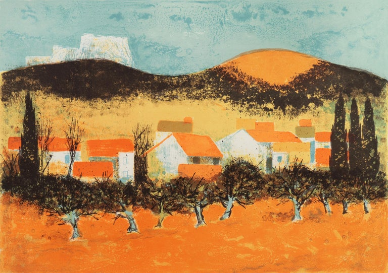 Pierre Bisiaux Landscape Print - 'Sunset over Provence', Paris Salon, Musée d'Art Moderne, Benezit