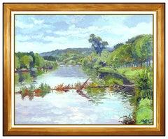 Pierre Bittar Large Original Painting Oil On Canvas Signed European Landscape