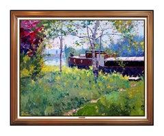 Pierre Bittar Large Original Painting On Canvas Signed Boat Landscape Artwork