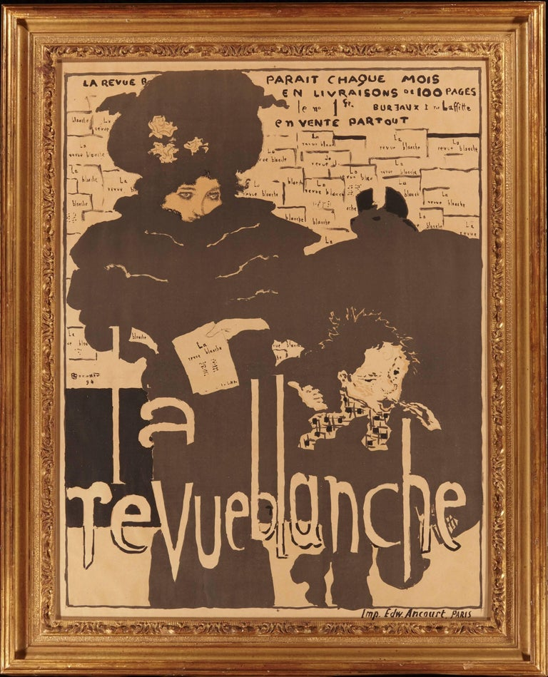 Pierre Bonnard 1894 La Revue Blanche Art Nouveau poster. Pierre Bonnard (French, 1867-1947) La Revue Blanche, 1894 Lithograph in colors on wove paper Printed by Edward Ancourt, Paris  Sheet dimensions: Height 32 inches (81 cm) Width 24.5 inches