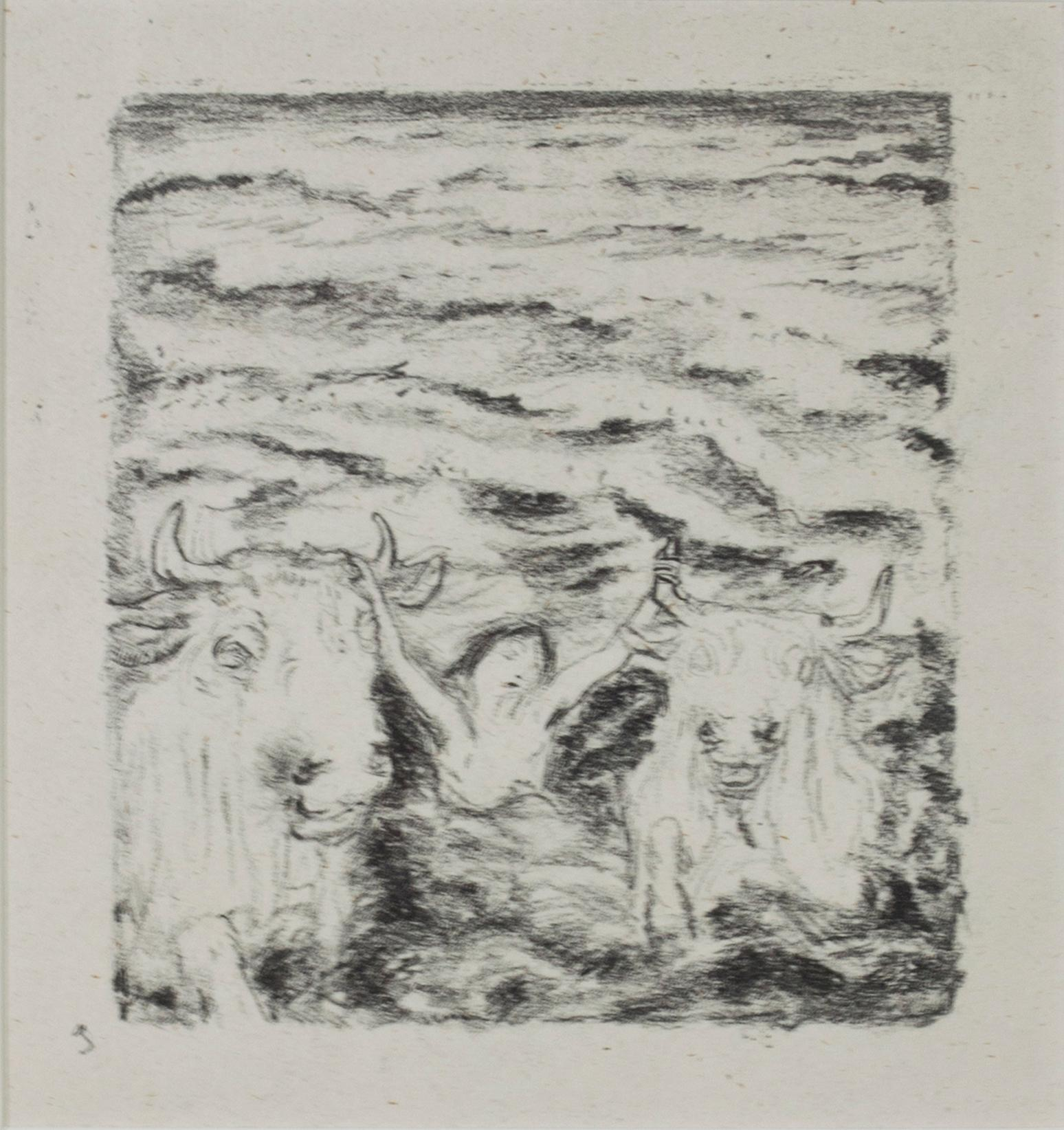 """""""Daphnis et Chloe (Two Bulls & Person in Water),"""" Lithograph signed by Bonnard"""