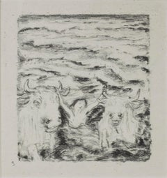 """Daphnis et Chloe (Two Bulls & Person in Water),"" Lithograph signed by Bonnard"
