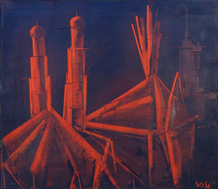 La Cathédrale Mid-Century Red and Black Abstract - Painting by Pierre Bosco