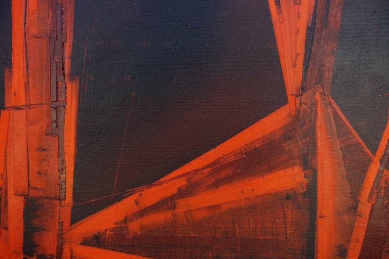 La Cathédrale Mid-Century Red and Black Abstract - Abstract Expressionist Painting by Pierre Bosco
