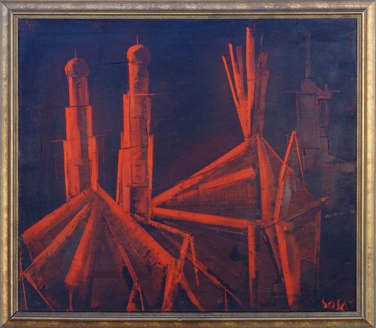 Pierre Bosco Abstract Painting -  La Cathédrale Mid-Century Red and Black Abstract