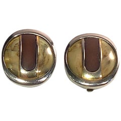 Pierre Cardin 1970s Abstract Buttom Earrings