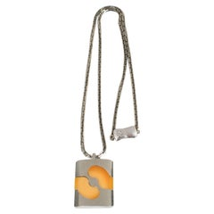 Pierre Cardin 1970s Modernist Silvered  and Yellow Resin Pendant Necklace