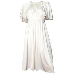 Pierre Cardin 1970s White Jersey Dress with Pockets Size 4.