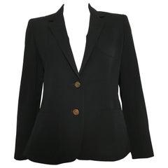 Pierre Cardin 1980s Black Wool Jacket Size 6.