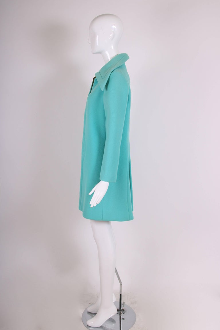 Pierre Cardin Aqua Blue Melton Wool Coat w/Space Age Mod Design Motif In Good Condition For Sale In Los Angeles, CA