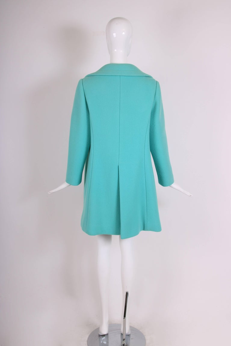 Women's Pierre Cardin Aqua Blue Melton Wool Coat w/Space Age Mod Design Motif For Sale