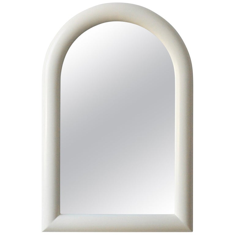 Pierre Cardin Attributed Arched Wall Mirror Newly Lacquered Wood in Off-White For Sale