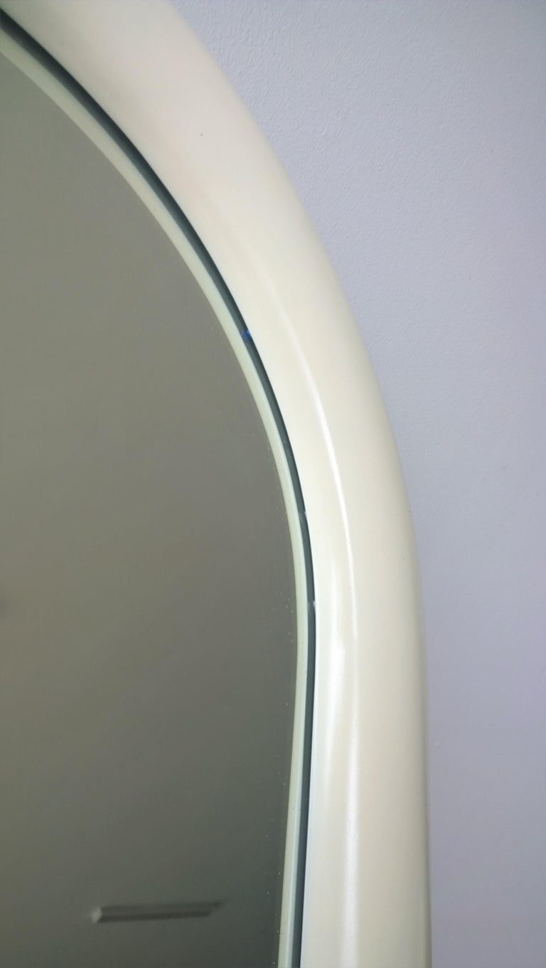Pierre Cardin Attributed Arched Wall Mirror Newly Lacquered Wood in Off-White For Sale 3