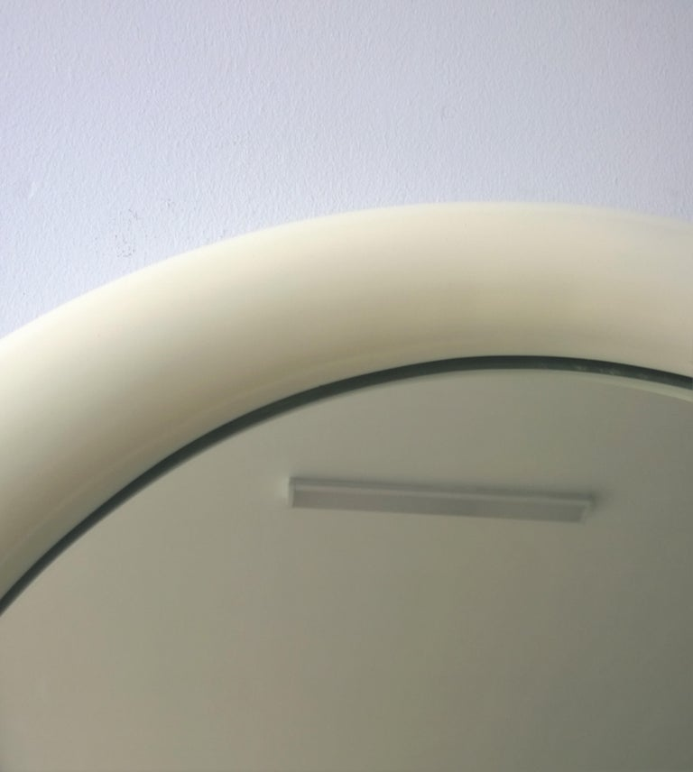 Pierre Cardin Attributed Arched Wall Mirror Newly Lacquered Wood in Off-White For Sale 4