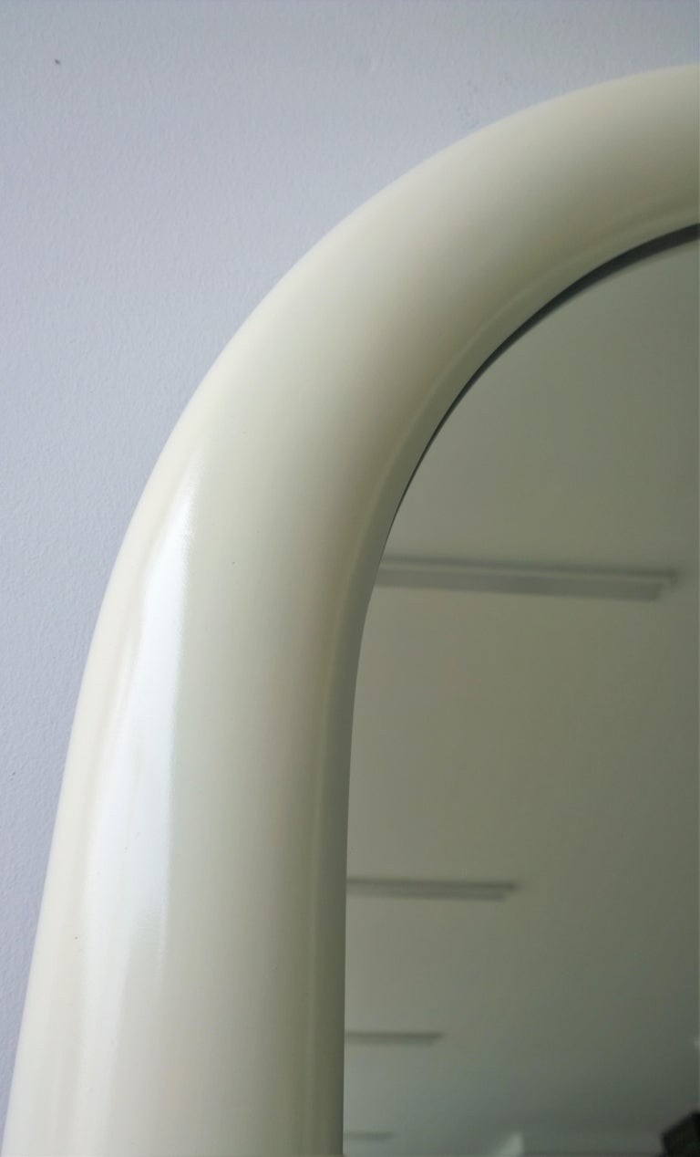 Pierre Cardin Attributed Arched Wall Mirror Newly Lacquered Wood in Off-White For Sale 6