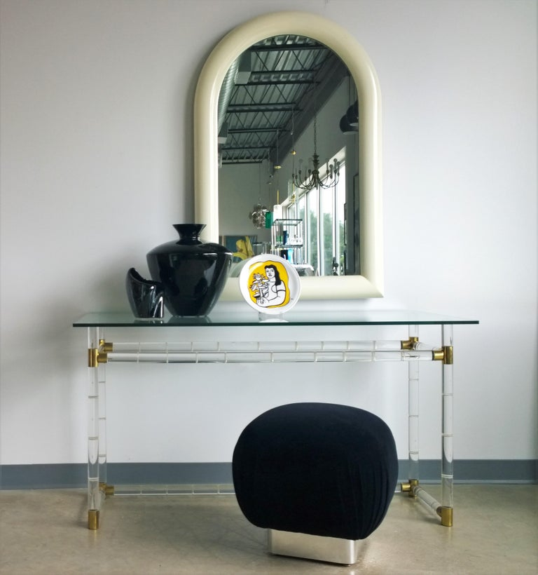 Pierre Cardin Attributed Arched Wall Mirror Newly Lacquered Wood in Off-White For Sale 13
