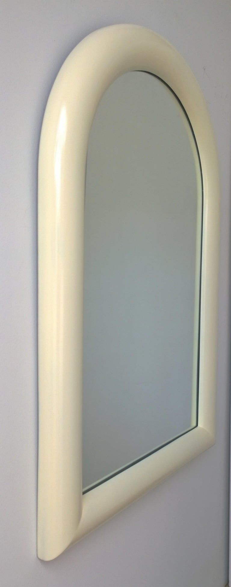 Mid-Century Modern Pierre Cardin Attributed Arched Wall Mirror Newly Lacquered Wood in Off-White For Sale