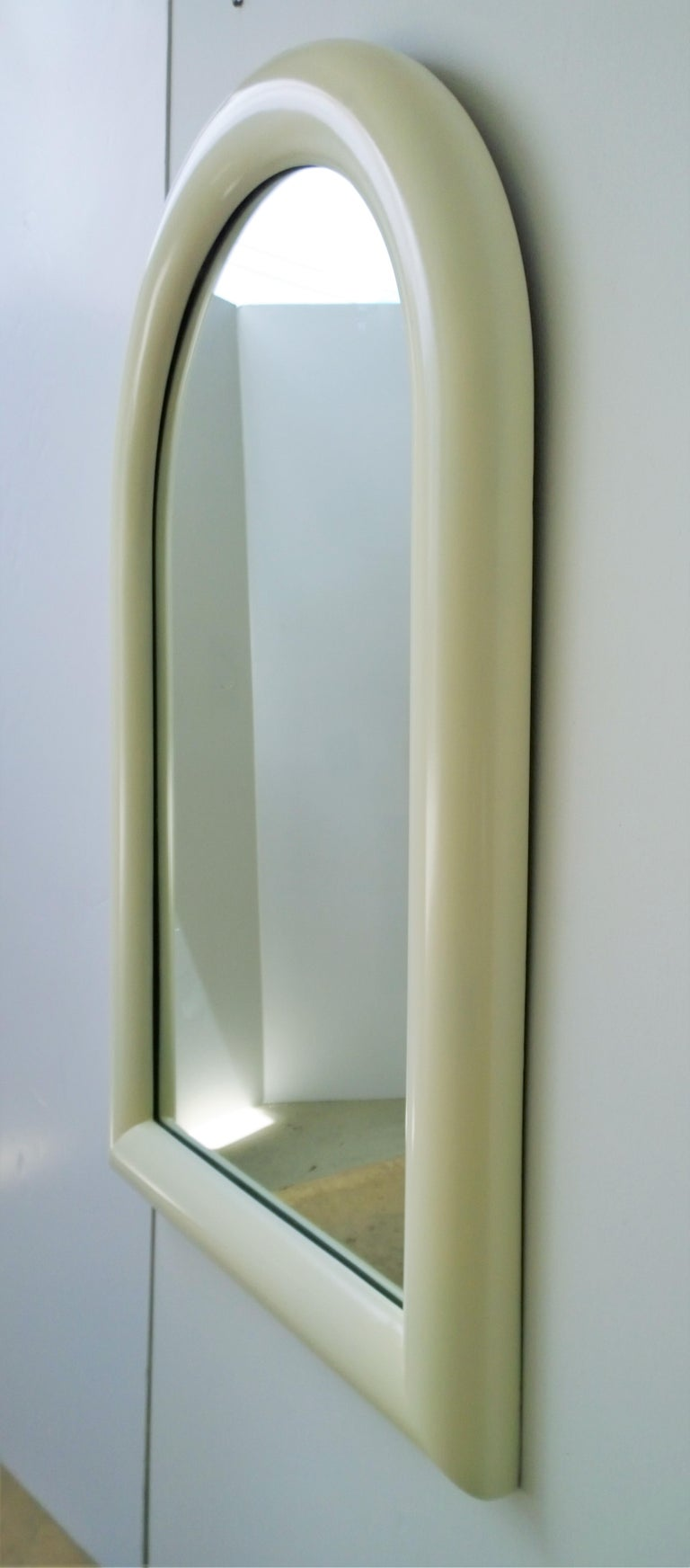 Canadian Pierre Cardin Attributed Arched Wall Mirror Newly Lacquered Wood in Off-White For Sale