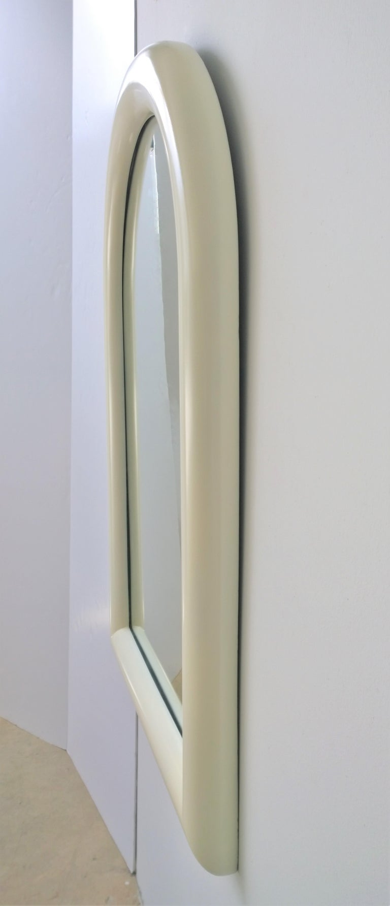 Beveled Pierre Cardin Attributed Arched Wall Mirror Newly Lacquered Wood in Off-White For Sale