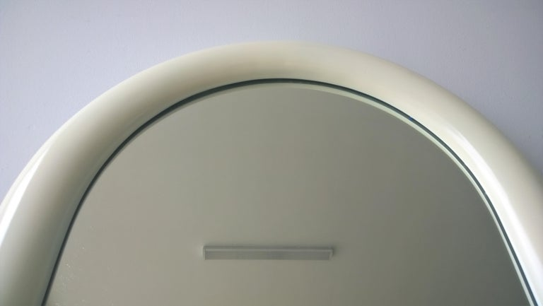 20th Century Pierre Cardin Attributed Arched Wall Mirror Newly Lacquered Wood in Off-White For Sale