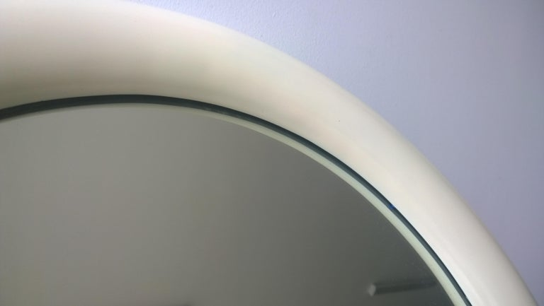 Pierre Cardin Attributed Arched Wall Mirror Newly Lacquered Wood in Off-White For Sale 1