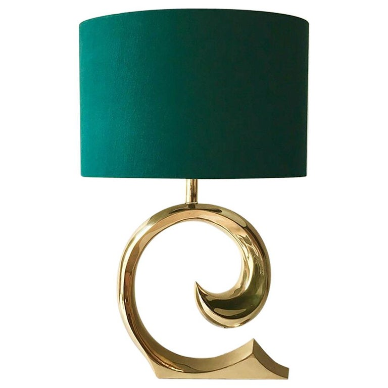 Pierre Cardin Attributed Polished Brass Table Lamp 1970s For Sale