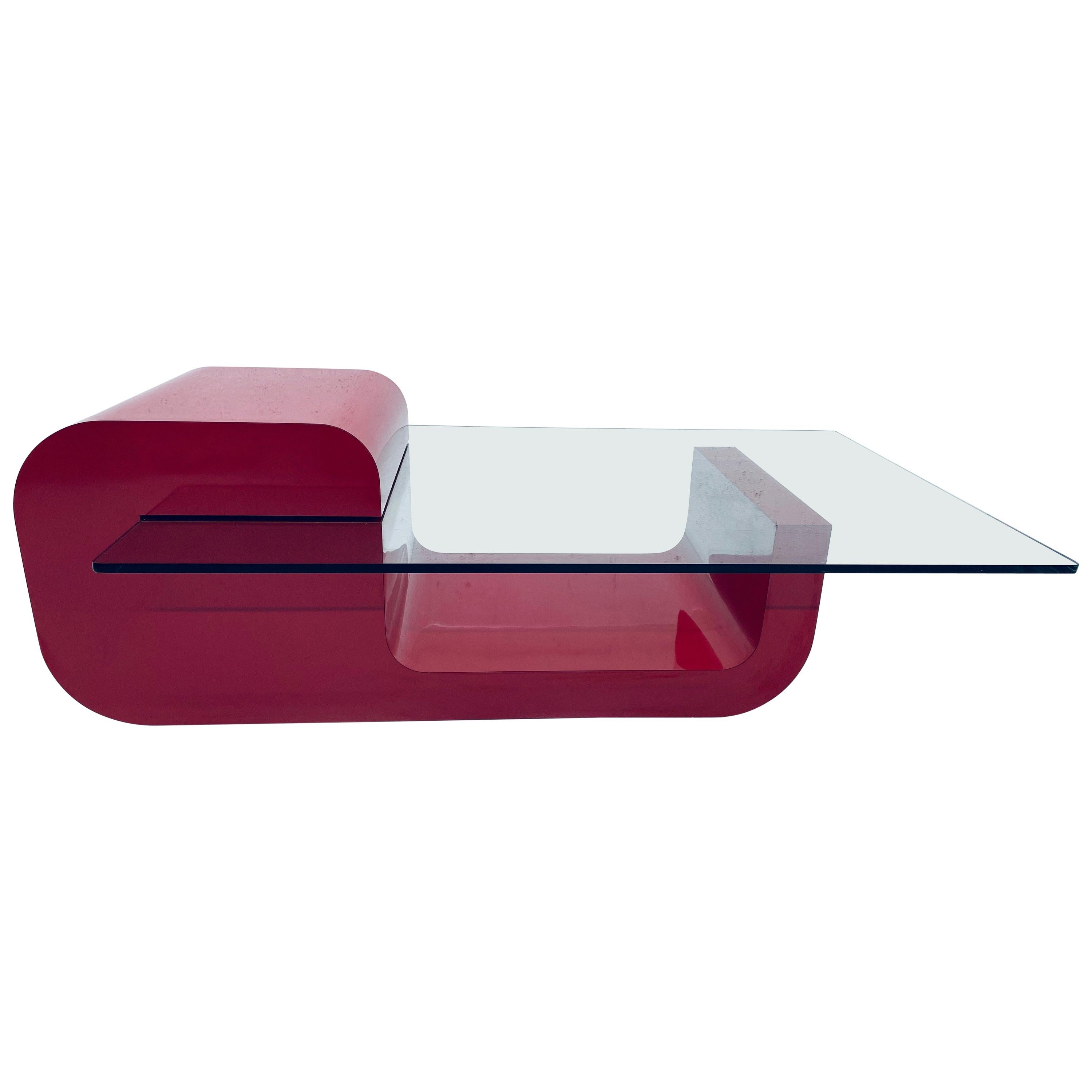 Pierre Cardin Attributed Red Laminate and Glass Coffee Table