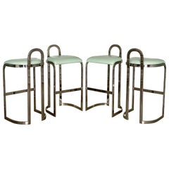Pierre Cardin Bar Stools Set of Four Midcentury Style Chrome Bar Height Stools