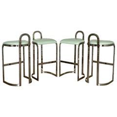 Pierre Cardin Bar Stools Set of Four Midcentury Style Chrome Bar Height Stools