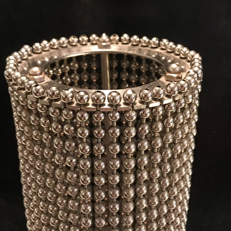 Mid-Century Modern Pierre Cardin Beaded Chain Pedestal Table Lamp For Sale