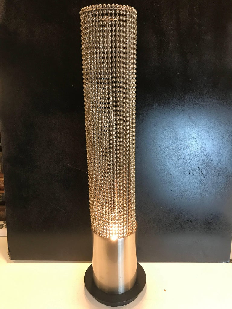 American Pierre Cardin Beaded Chain Pedestal Table Lamp For Sale