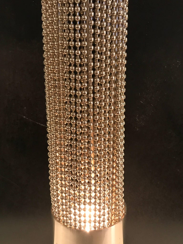 Pierre Cardin Beaded Chain Pedestal Table Lamp In Excellent Condition For Sale In West Palm Beach, FL