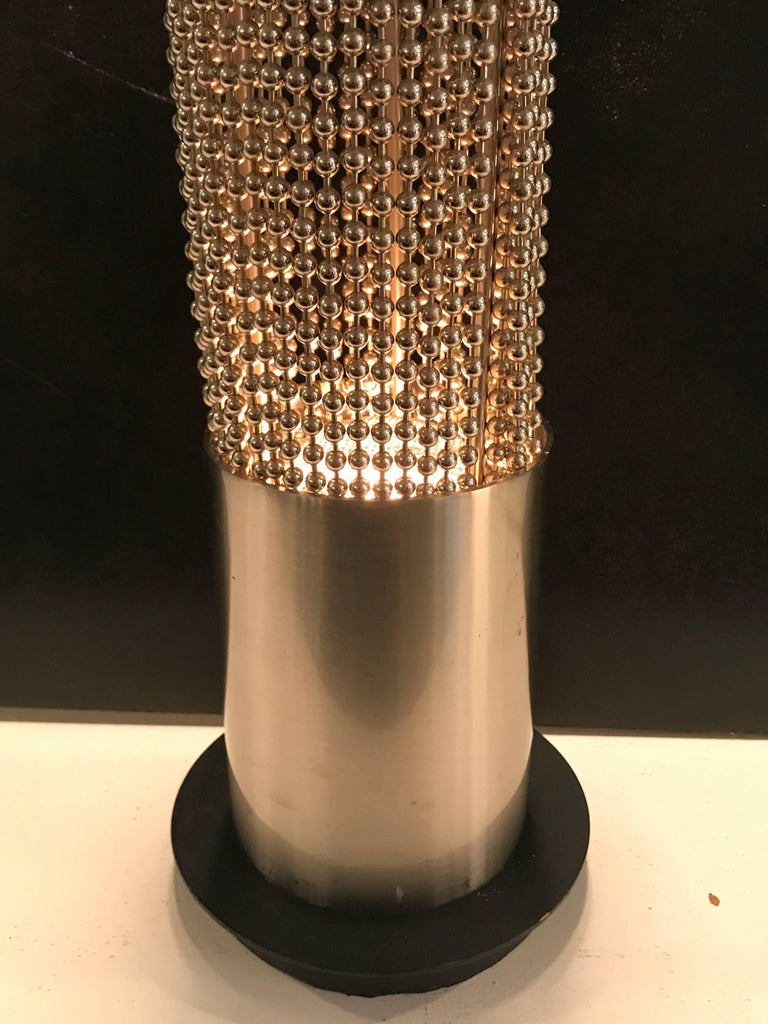 Late 20th Century Pierre Cardin Beaded Chain Pedestal Table Lamp For Sale