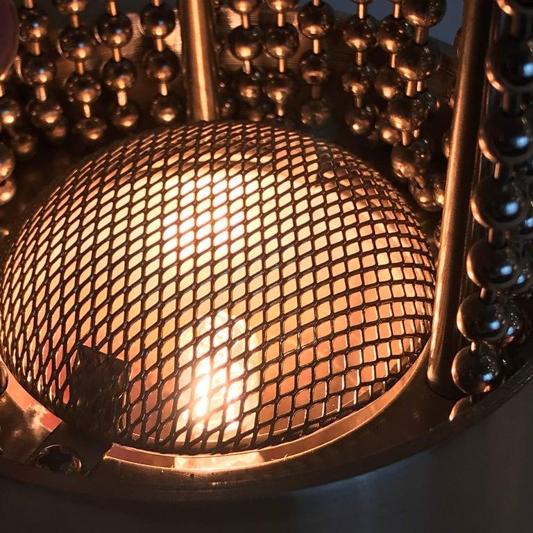 Steel Pierre Cardin Beaded Chain Pedestal Table Lamp For Sale