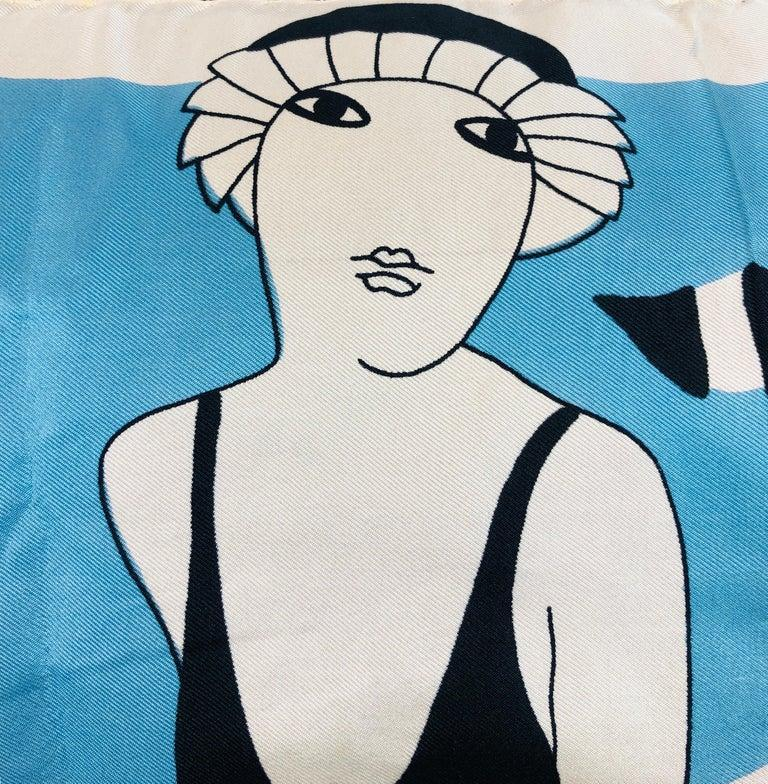 Pierre Cardin Black Blue and Ivory Silk Scarf with Cotton Back Decorative Pillow For Sale 13