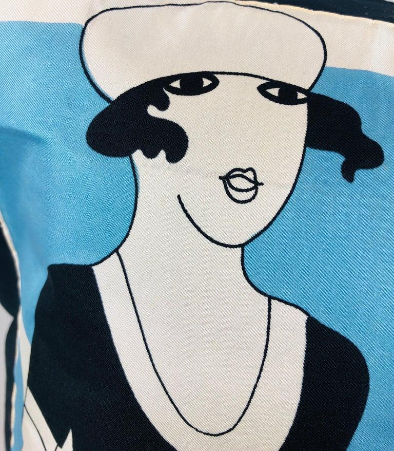 Pierre Cardin Black Blue and Ivory Silk Scarf with Cotton Back Decorative Pillow For Sale 15