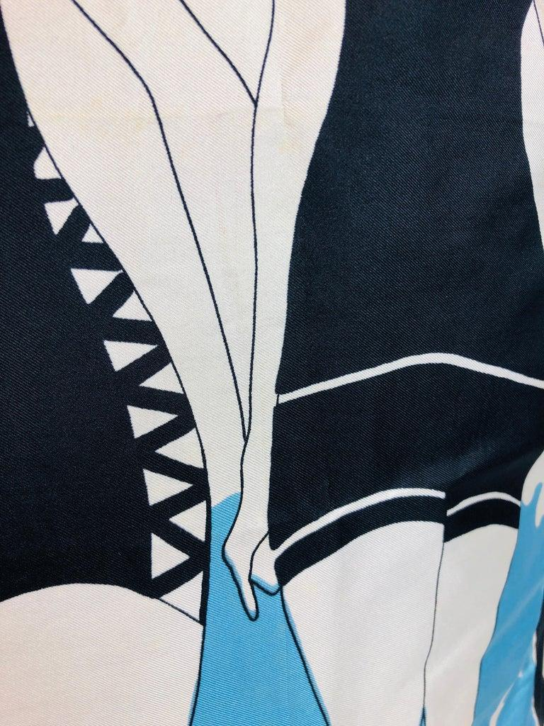 Pierre Cardin Black Blue and Ivory Silk Scarf with Cotton Back Decorative Pillow For Sale 4