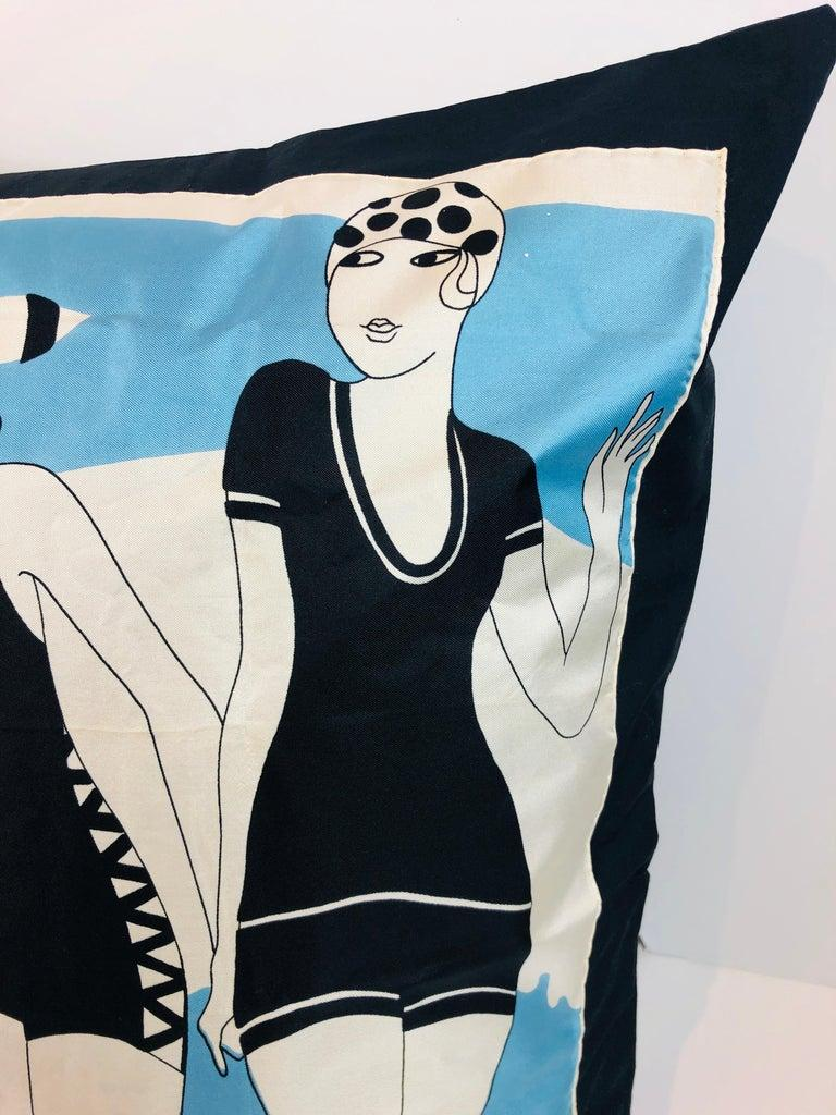 Pierre Cardin Black Blue and Ivory Silk Scarf with Cotton Back Decorative Pillow For Sale 5