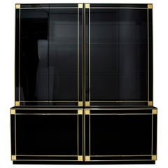 Pierre Cardin Black Lacquered Sideboard Bar Cabinet with Brass Details, 1980s