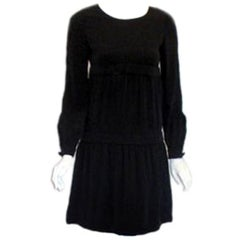 Pierre Cardin Black Rayon Cocktail Dress, Circa 1960s