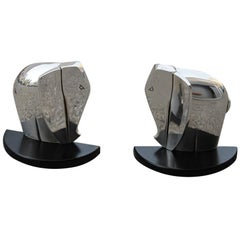 Pierre Cardin Bookend Silver Elephants Black Base Design, 1980