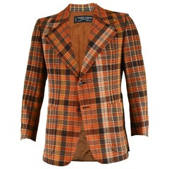 Pierre Cardin Boutique Men's Orange Plaid Check Vintage Blazer Jacket, 1970s