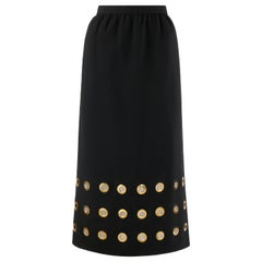 PIERRE CARDIN c.1960's Black Gold Oversized Grommet Mod A-Line Full Length Skirt