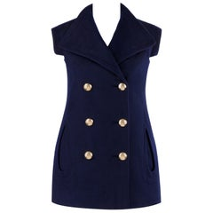 PIERRE CARDIN c.1960's Navy Blue Extended Shoulder Double Breasted Vest Jacket