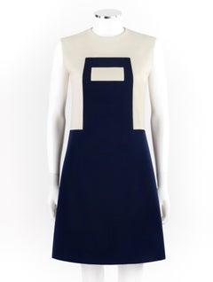 PIERRE CARDIN c.1960's Navy Cream Geometric Mod Color Block Mini Dress