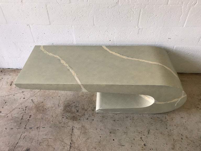Mid-Century Modern Pierre Cardin Cantilevered Trompe L Oeil Marble Coffee or Cocktail Table For Sale