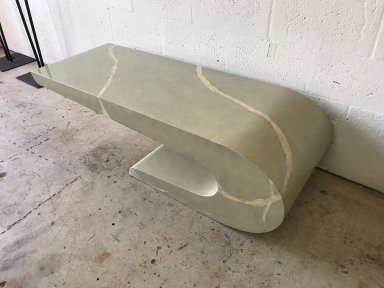 French Pierre Cardin Cantilevered Trompe L Oeil Marble Coffee or Cocktail Table For Sale