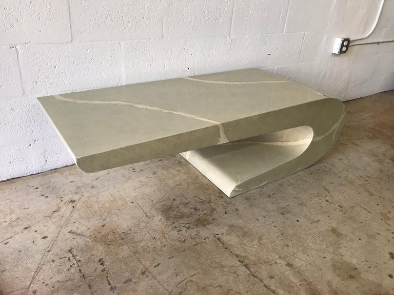 Hand-Painted Pierre Cardin Cantilevered Trompe L Oeil Marble Coffee or Cocktail Table For Sale