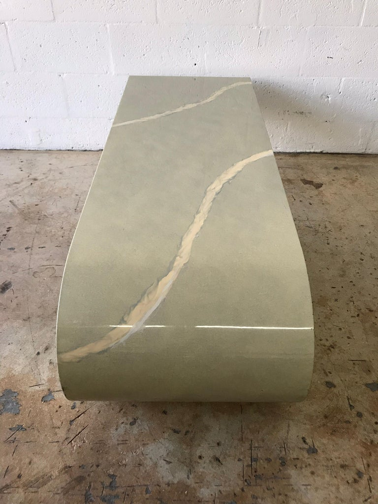 Pierre Cardin Cantilevered Trompe L Oeil Marble Coffee or Cocktail Table For Sale 1