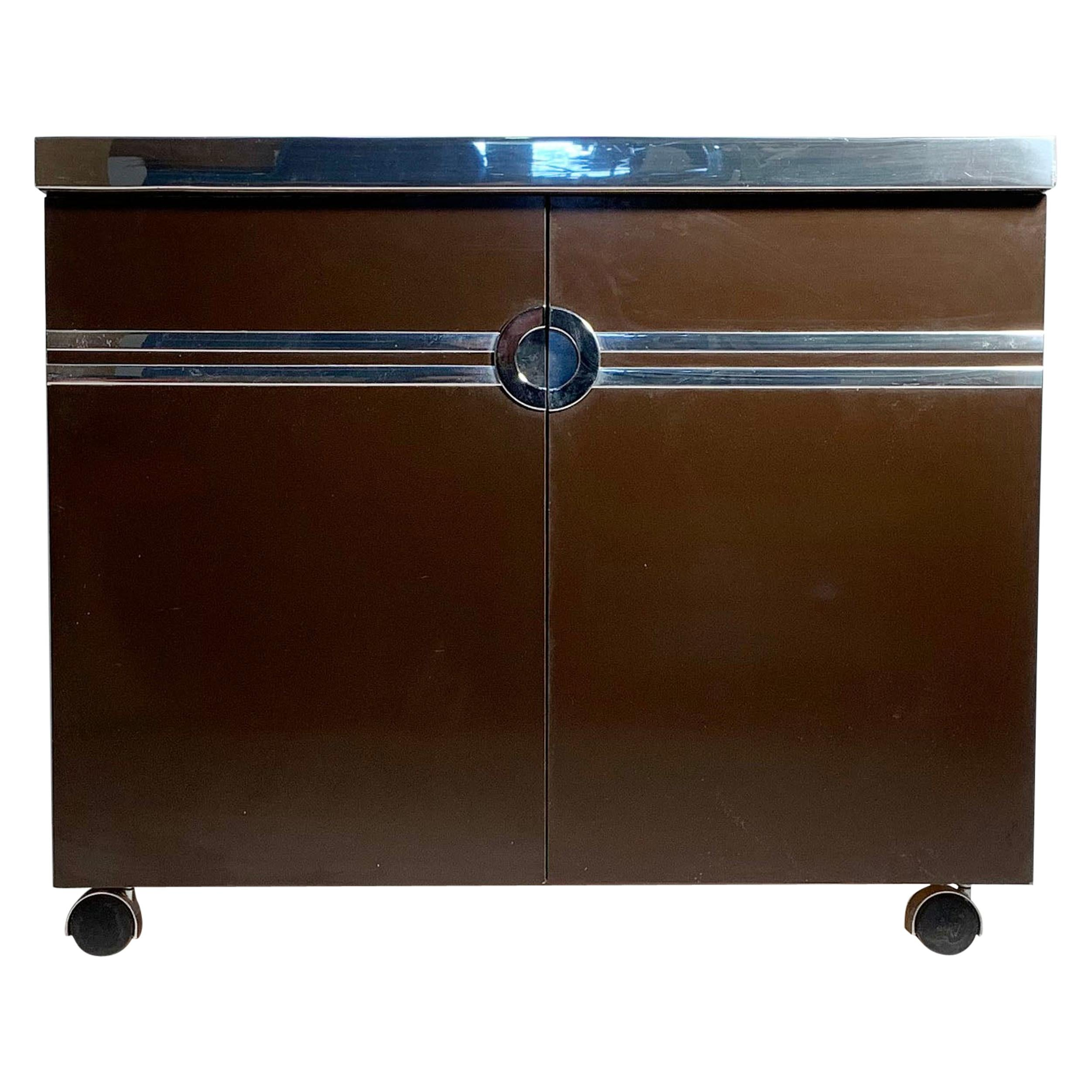 Pierre Cardin Chocolate Color Bar Cabinet on Castors
